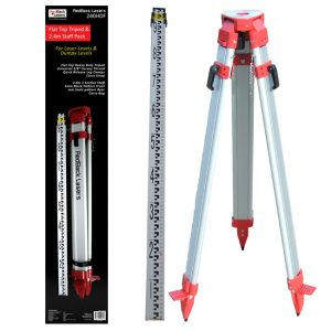 RedBack Lasers 240HDF Flat top tripod and 2,4m staff bundle for laser levels dumpy levels