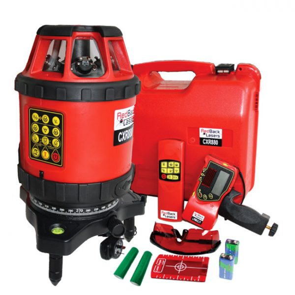 CXR880 kit include receiver RedBack Lasers Multi Line and Rotating laser hybrid two in one laser levels indoor and outdoors site levelling site layout interior fit out
