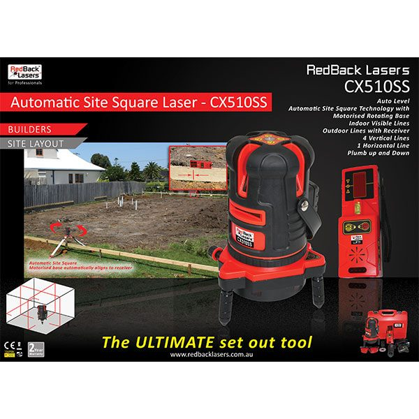 CX510SS Box RedBack Lasers Site Layout Squaring laser with tracking receiver Ultimate set out Tool