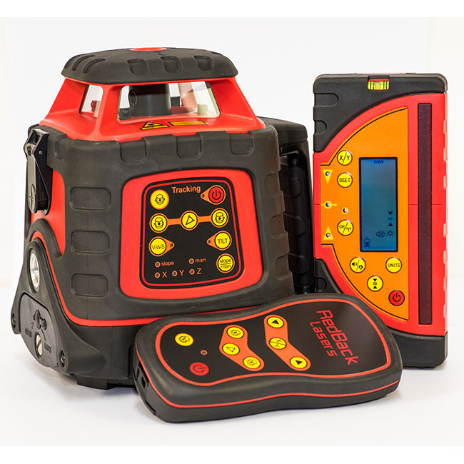 RedBack Lasers EGL624GM Tracking auto grade tracking rotating laser level for sale dual grade with millimeter receiver also available as a green beam laser GREEN624GM levels Brisbane Melbourne Perth