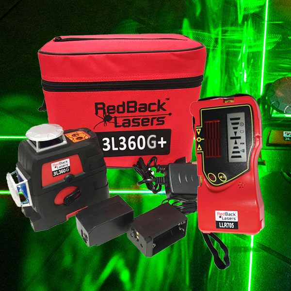 RedBack Lasers 3L360G+ 360 degree green cross line laser with receiver for both indoor and outdoor use 3D Multi Line