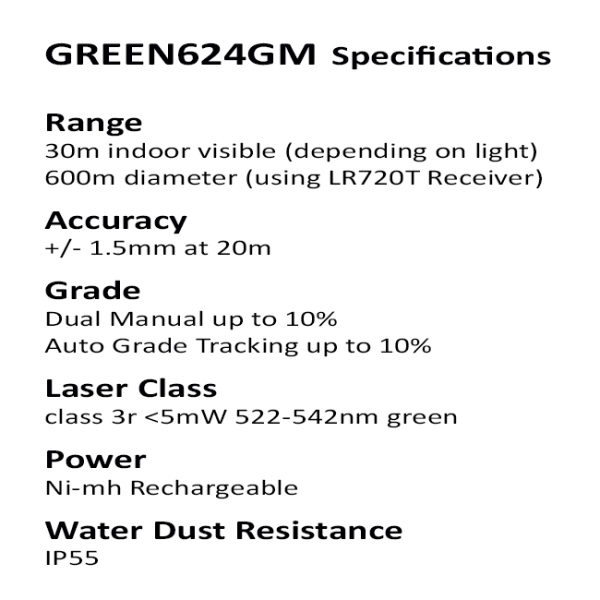 Green rotaitng laser specifications with auto grade match tracking