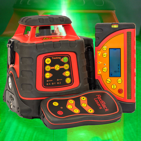 The Ultimate Green Beam Rotating Laser level with Auto Tracking Grade Match to millimeter receiver GREEN624GM by RedBack Lasers plumbers laser