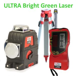 3L360G+P green line laser level package with receiver for outdoors tripod and staff