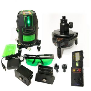 XLG44AT Green multiline laser with Electronic Self Leveling includes motorised tracking base and tracking line receiver